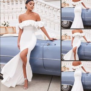 White ruffle off shoulder gown